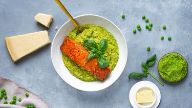 groene risotto met zalm
