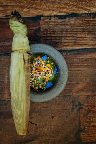 Mais in de kolf met saus van marjoraan
