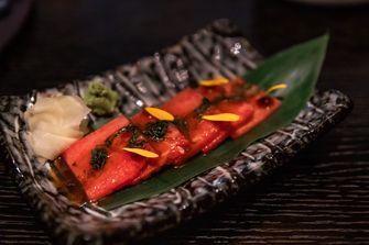 Vegan sashimi van watermeloen
