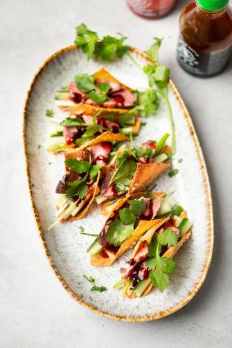 Wonton-taco's met pekingeend