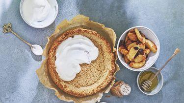Gezonde ontbijt appeltaart met kwark