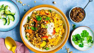 vega biryani met zoete aardappel en amandel