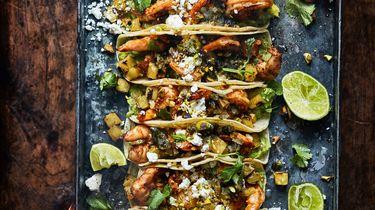 taco's met ananas en gegrilde gamba