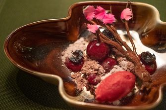 Dessert vegan lentemenu van Taiko