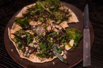 Pizza met zeewier