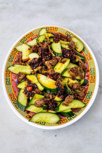 komkommersalade met pulled oats