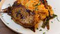 snelle wortelpuree met filetlapjes en sjalottenjus