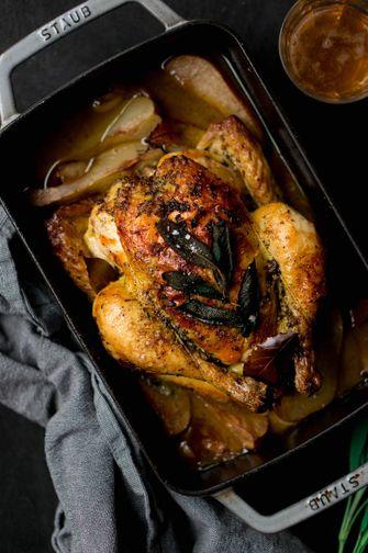 gebraden kip met salie en peren