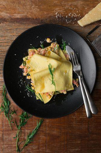 open lasagne met rivierkreeft