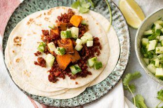 taco's zoete aardappel chorizo