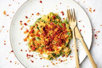 Andijviestamppot met zoete aardappel en chorizo