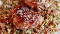 Krokante kip met granaatappel en bulghursalade