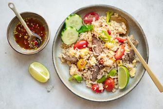 Thaise gebakken rijst met rundvlees