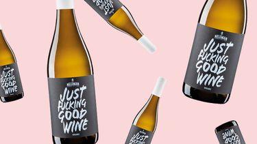 JUst Fucking Good Wine fles