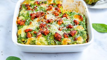lasagne met ricotta, spinazie en worstvlees