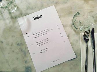 Het menu van Bistro Belén