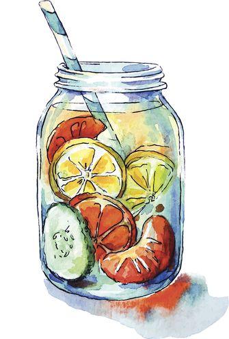 Fruit drink. Mason jar. Watercolor. Hand painted. Vector illustration