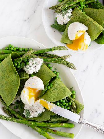 spinaziepannenkoeken met asperges