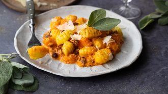 gnocchi met Grana Padano, pompoen en chorizo