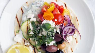 Afbeelding van Griekse taco's voor Culy's Weekmenu met Griekse gerechten