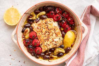 Griekse gebakken feta uit de oven