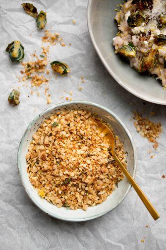 Pangrattato bij de spruitjes risotto