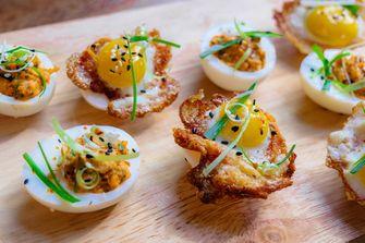 Koreaanse gevulde eieren met kwarteleieren