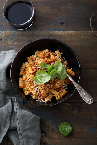 italian pasta bolognese with wine, food top view